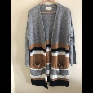 NWOT Dreamers striped Open cardigan